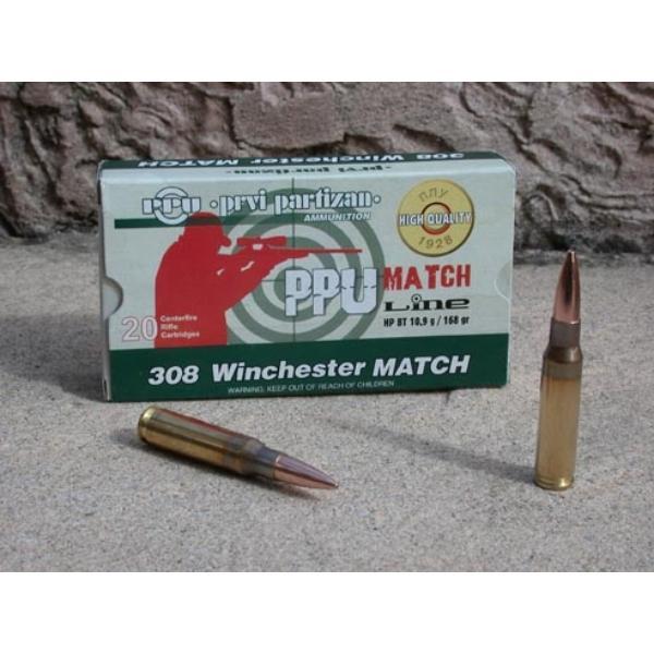 Cartouches Partizan Cal. .308 Winchester 168-Grs HPBT Match