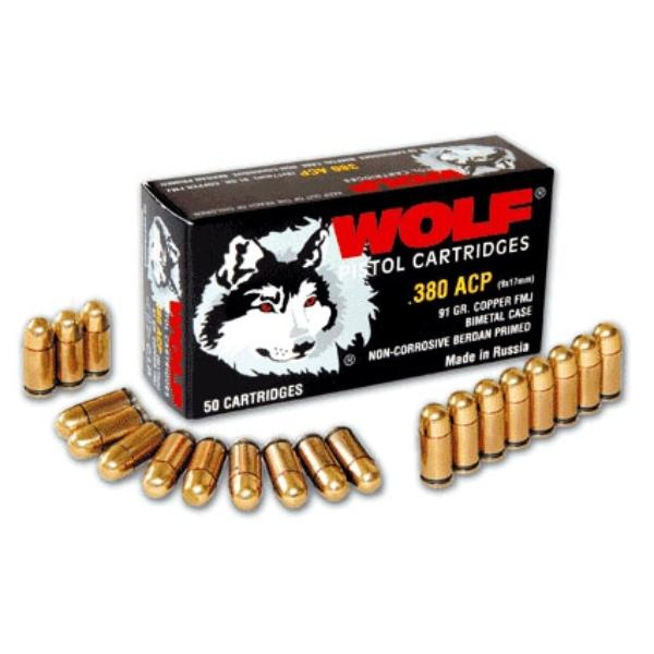 Cartouches Wolf .380 ACP (9mm Court) 91 Gr. FMJ