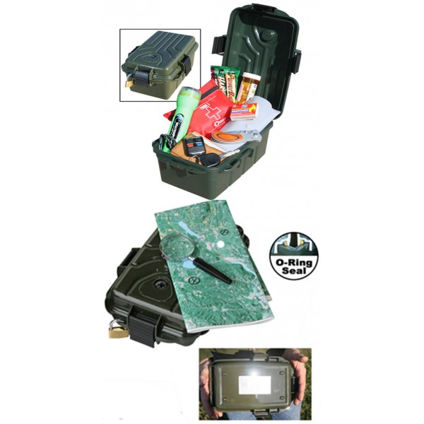 Boîte de Survie étanche Vert Forêt 249x173x122mm