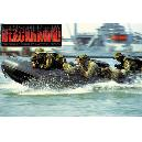 Poster en couleur. Navy Seals dans zodiac en insertion.